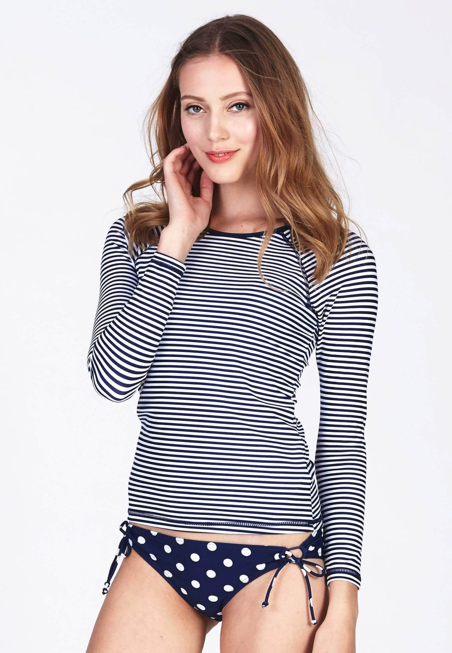 UPF50+ Long Sleeve Rash Top in Nautical Stripes - FUNFIT