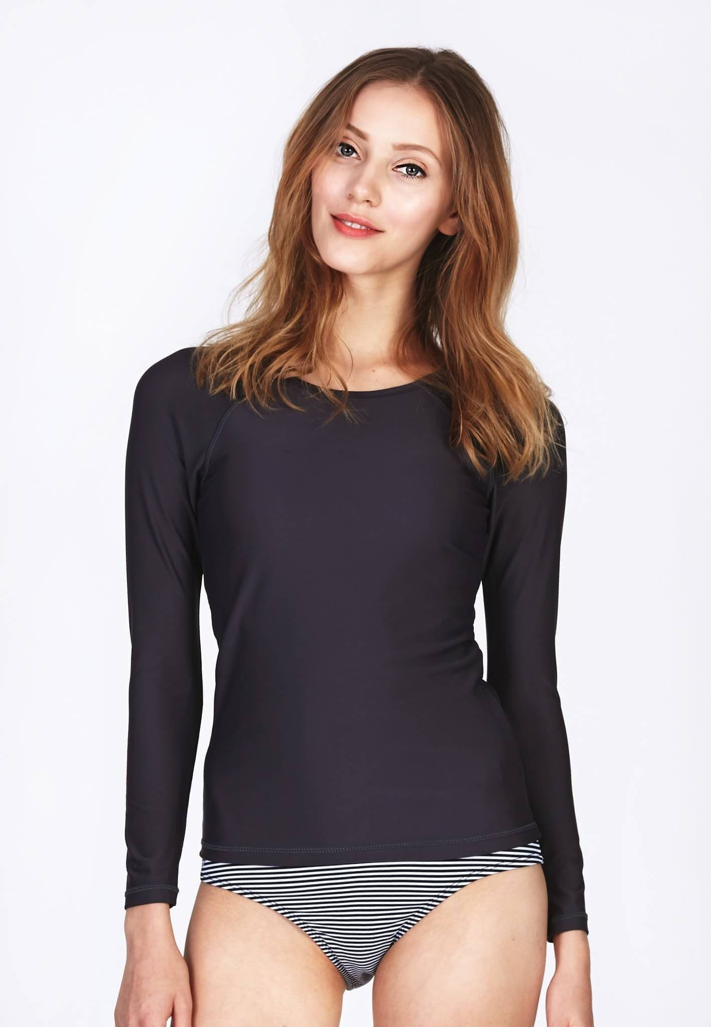 UPF50+ Long Sleeve Rash Top in Grey - FUNFIT