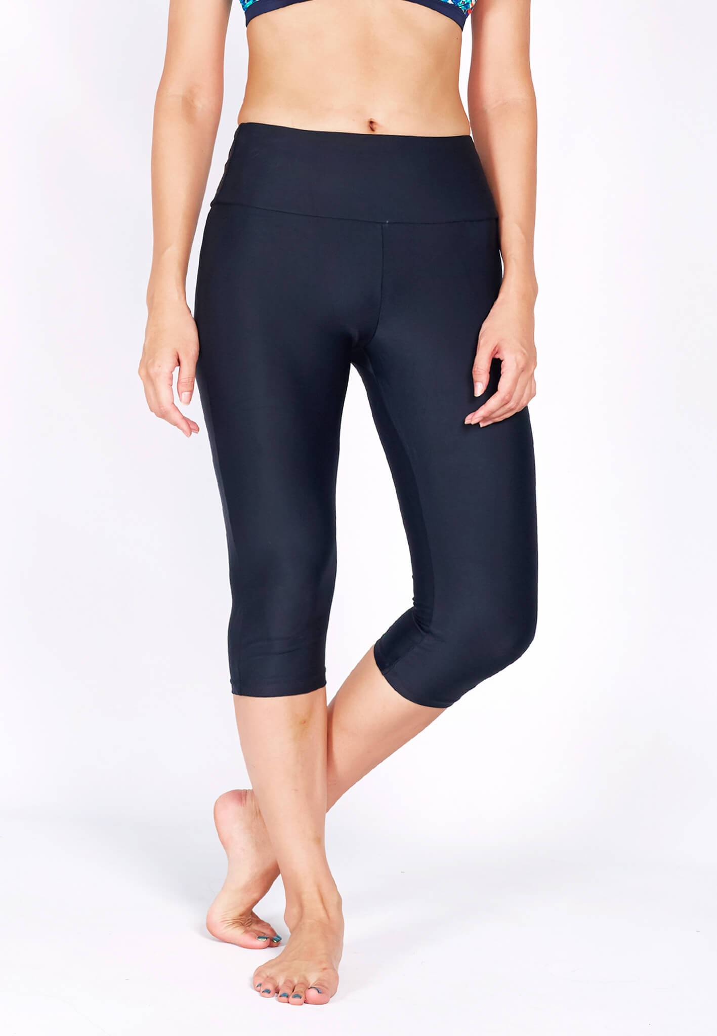 UPF50+ Capri Pants (with KeeperBand®) in Black (S - 3XL) - FUNFIT