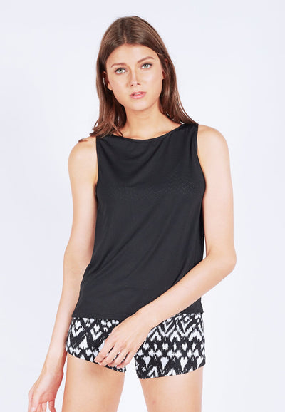 Uplift Tank Top with (Open Back) in Black (S - XL) - FUNFIT