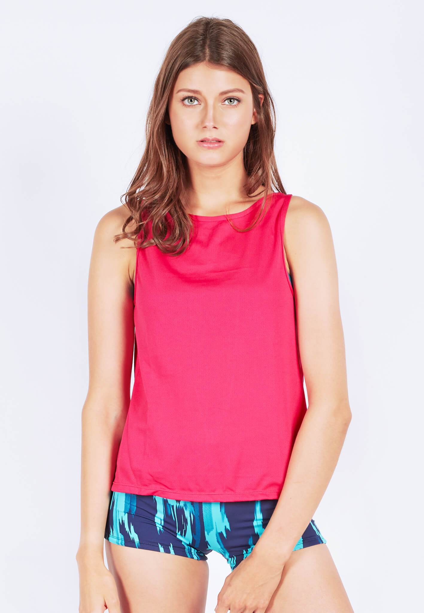 FUNFIT Uplift Tank Top (with Open Back) in Hot Pink (S - XL)