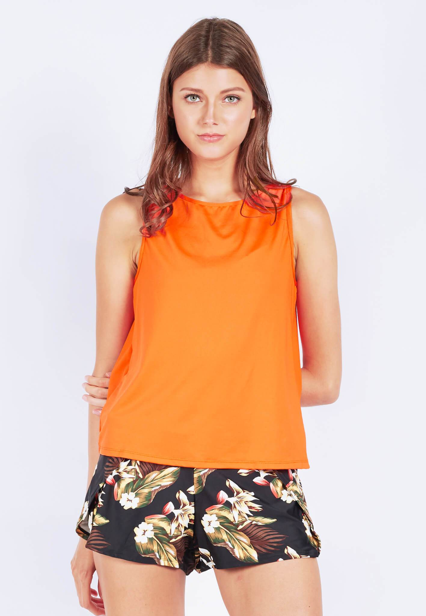 FUNFIT Uplift Tank Top (with Open Back) in Burnt Orange (S - XL)