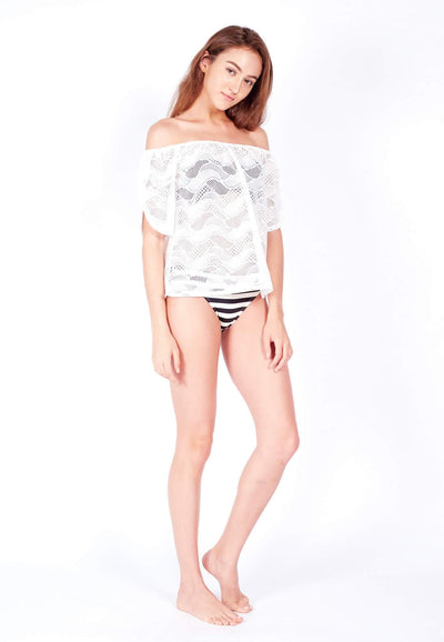 Openwork Off-Shoulder in White - FUNFIT
