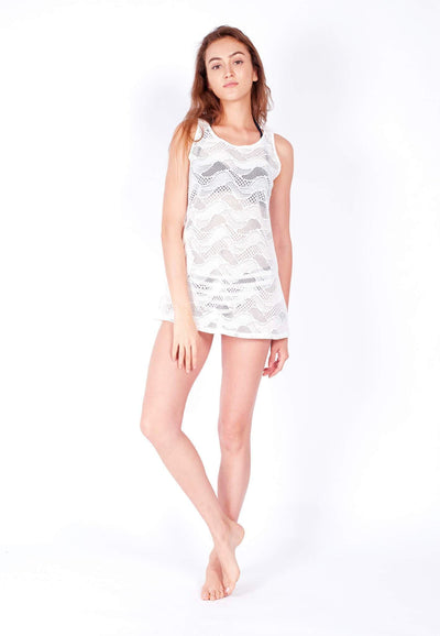 Openwork Mini-Shift Dress in White (with Side Pockets) - FUNFIT