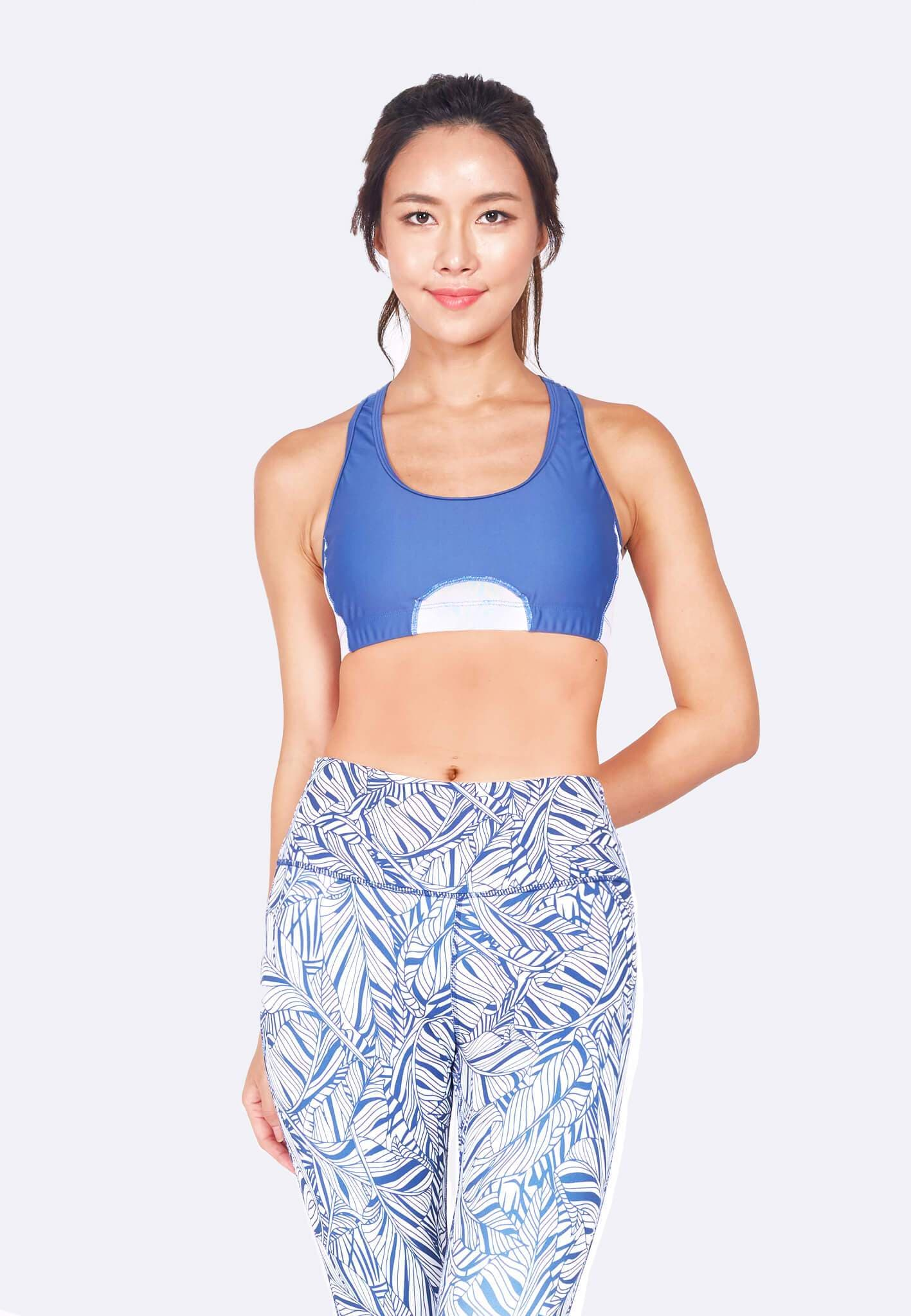 Knockout Racerback Sports Bra in White/Steel Blue (XS - 2XL)