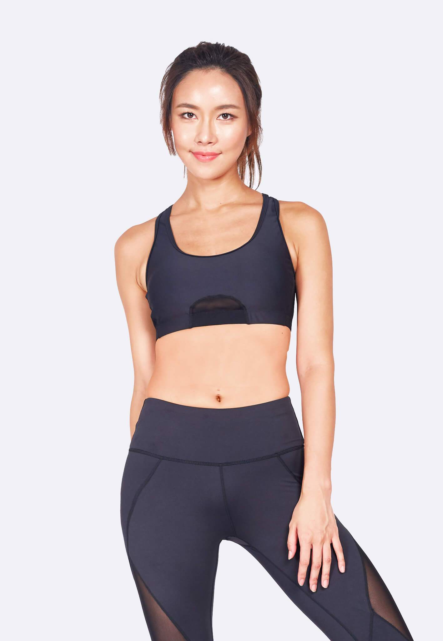 Knockout Racerback Sports Bra in Black - FUNFIT