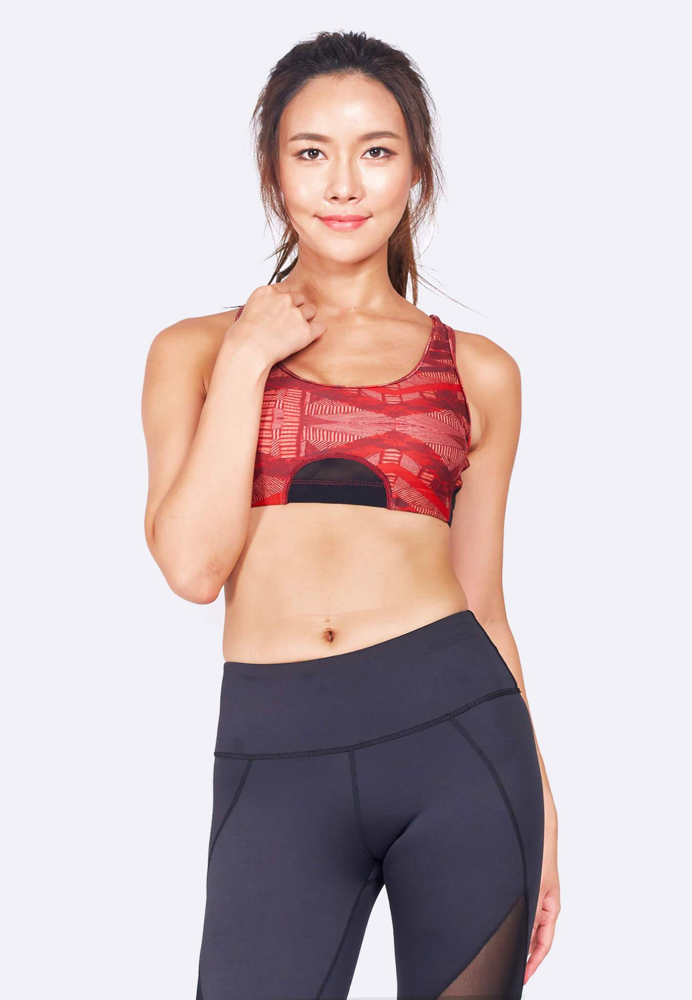 Knockout Racerback Sports Bra in Black/ Aeneas Print (XS - 2XL) - FUNFIT