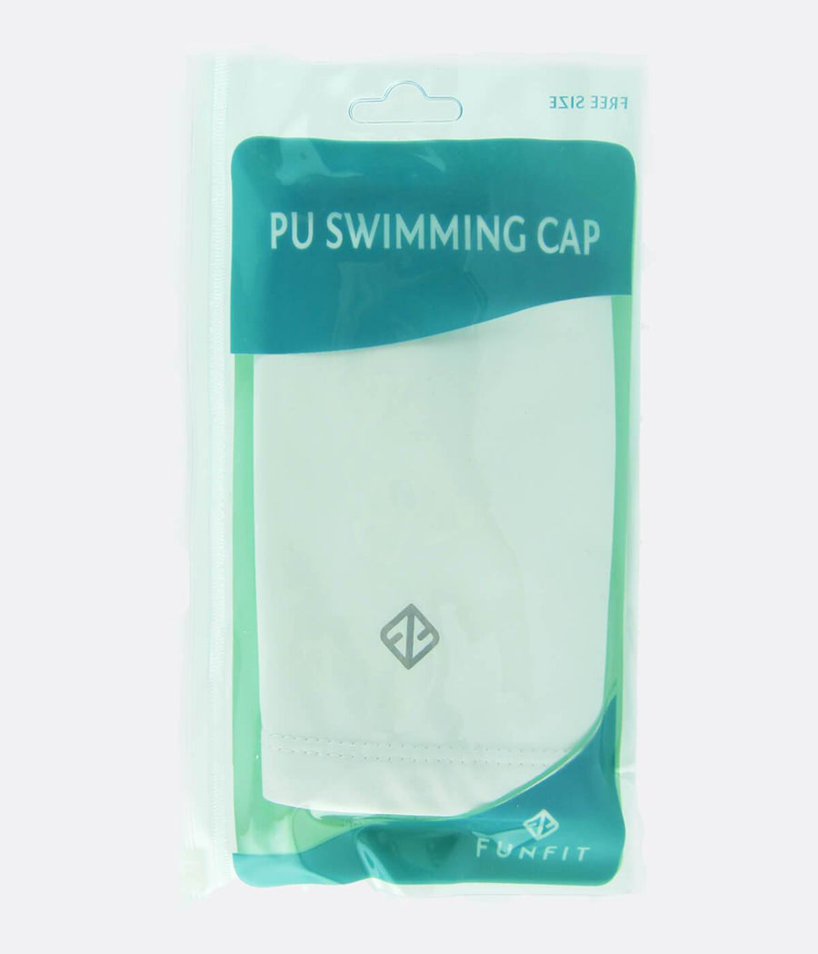 PU Coated Swimming Cap in White - FUNFIT