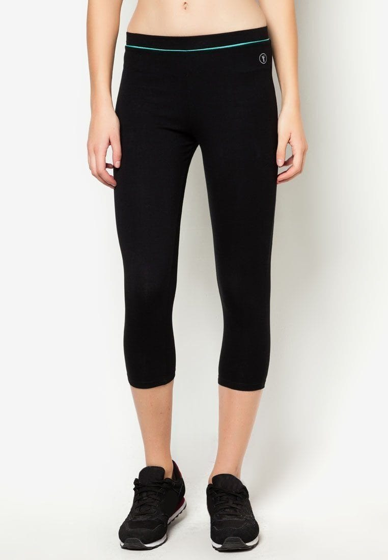 Active Midi Leggings in Black/ Green - FUNFIT