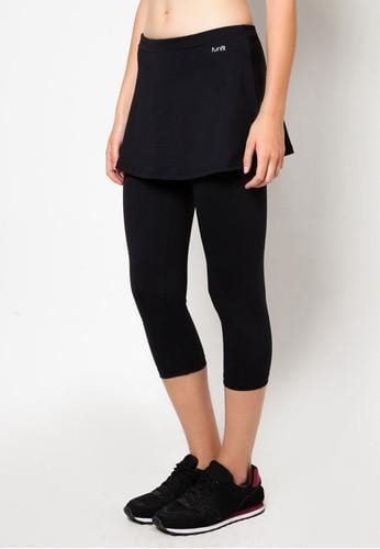 Active Midi Leggings (with Skirt) in Black - FUNFIT