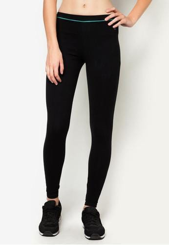 Active Tapered Leggings in Black/ Green - FUNFIT
