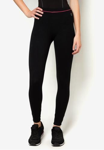Active Tapered Leggings in Black/ Pink - FUNFIT