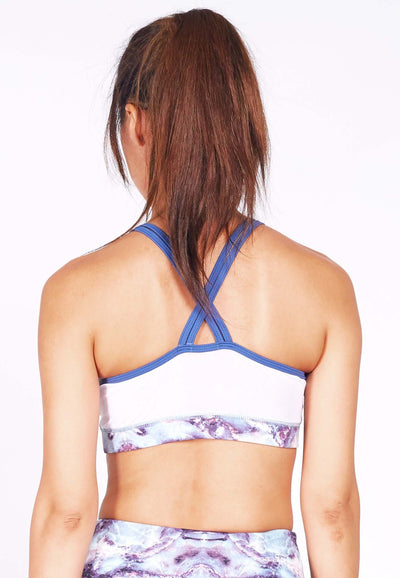 Revival Crossback Sports Bra in White/ Venus Print (S - 3XL) - FUNFIT