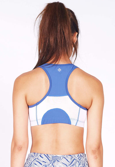 Knockout Racerback Sports Bra in White/Steel Blue