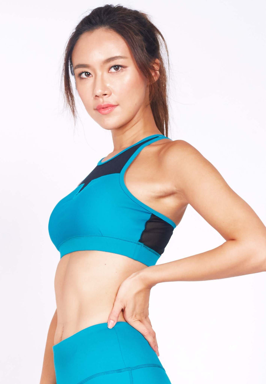 Revival Crossback Sports Bra in Black/ Aqua (S - 3XL)