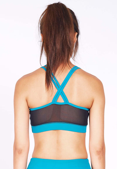 Revival Crossback Sports Bra in Black/ Aqua - FUNFIT