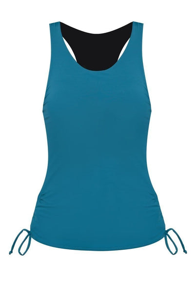 Side Ruched Tankini Top in Evergreen - FUNFIT