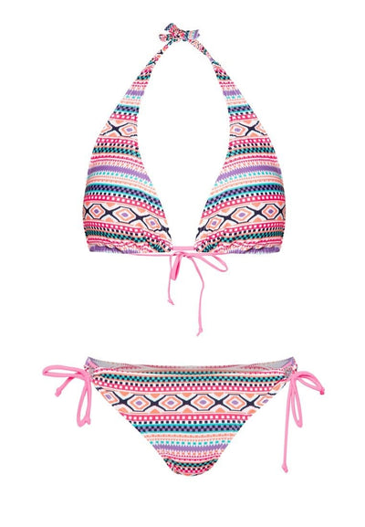 Swim Set: Halter Bikini & Brief in Rainbow Aztec Print (S - L) - FUNFIT