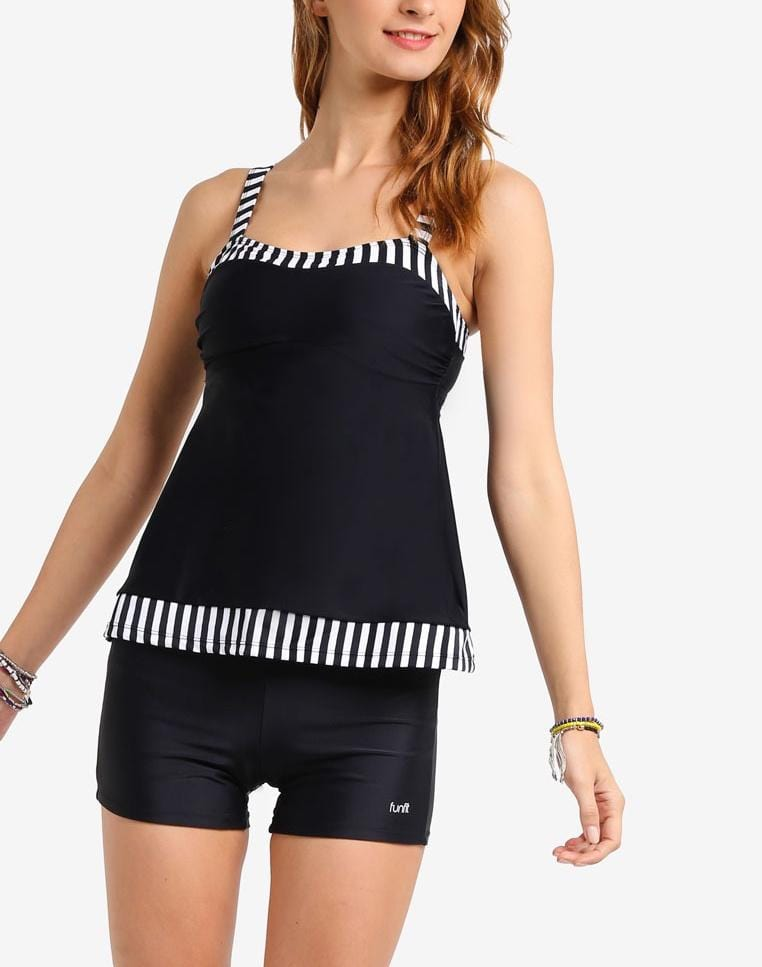 FUNFIT Swim Set: Tankini Top & Boyshorts in Monochrome Print (S - XL)
