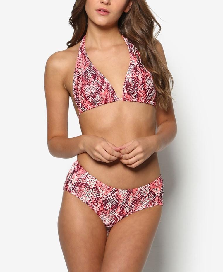 Swim Set: Halter Bikini and Brief in Raelia Print (S - L) - FUNFIT
