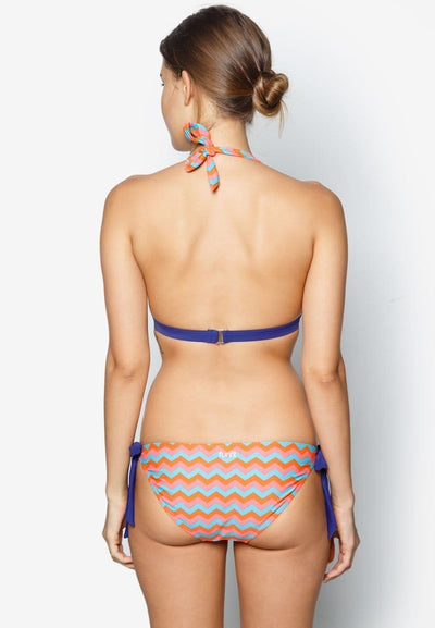 Halter Bikini Set in Retro Chevron Print - FUNFIT
