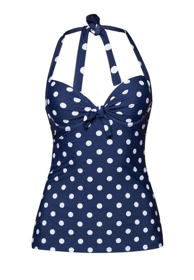 Underwire Tankini Top (with Bow)  in Navy/ Polka Dot Print - FUNFIT
