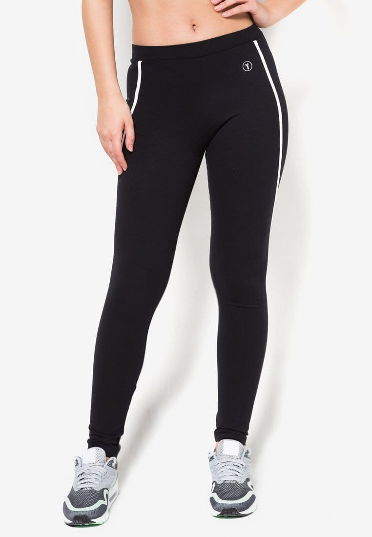 Cotton Tapered Pants with Stripes in Black/White (S - 3XL) - FUNFIT