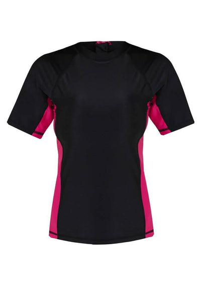UPF50+ Short Sleeve Sunvest in Black/ Magenta - FUNFIT