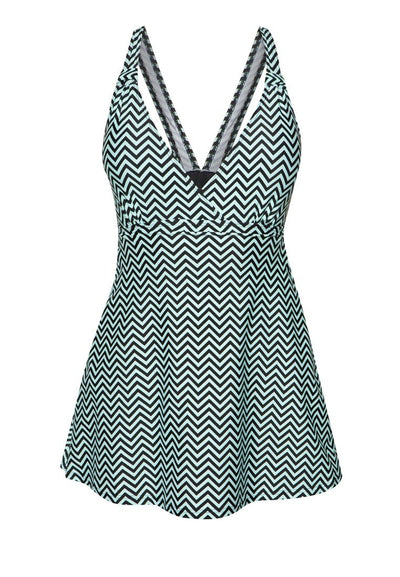 Swimdress in Mint Chevy Print