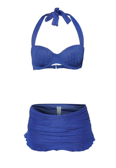Swim Set: Underwire Bikini, Brief and Skirt in Royal Blue (S - M) - FUNFIT