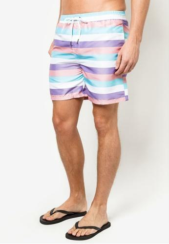 Men Boardshorts in Pastel Strips - FUNFIT