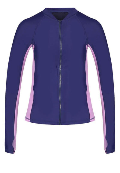 UPF50+ Zip Front Rashguard in Royalty/ Lilac - FUNFIT