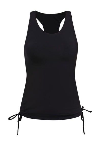 Side Ruched Tankini Top in Black - FUNFIT