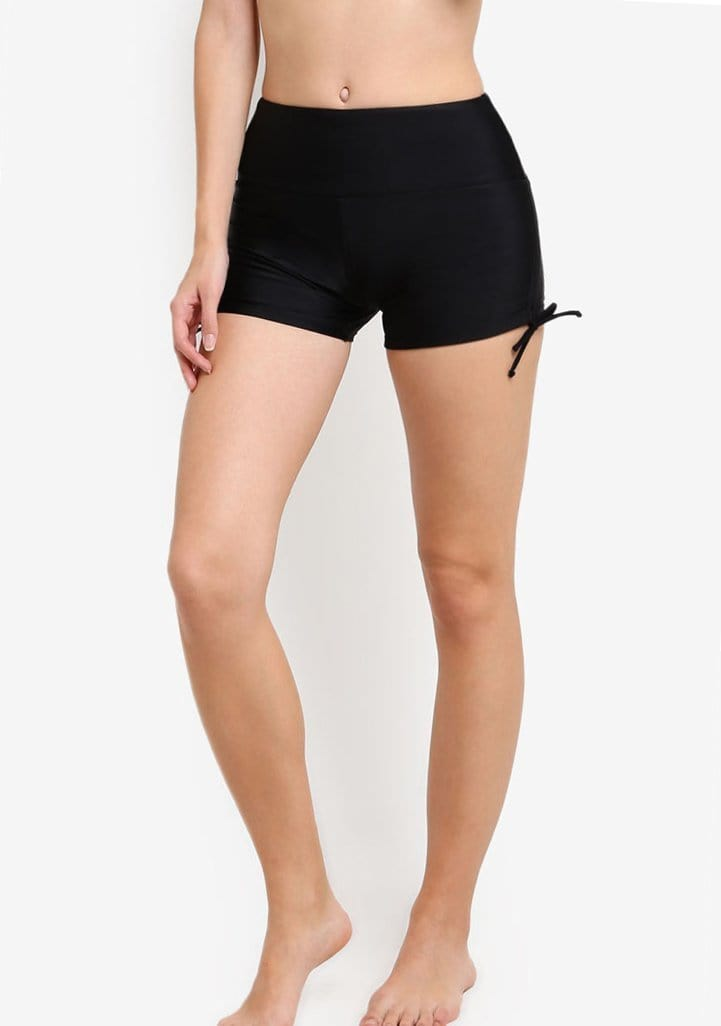 Wide Waistband Shorts in Black - FUNFIT