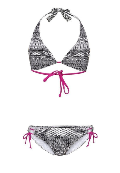 Swim Set: Halter Bikini and Brief in Renessa Print - FUNFIT
