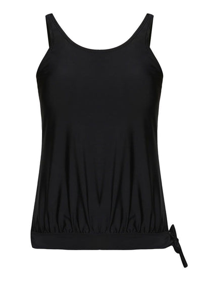 Hemmed Blouson Tankini Top in Black - FUNFIT