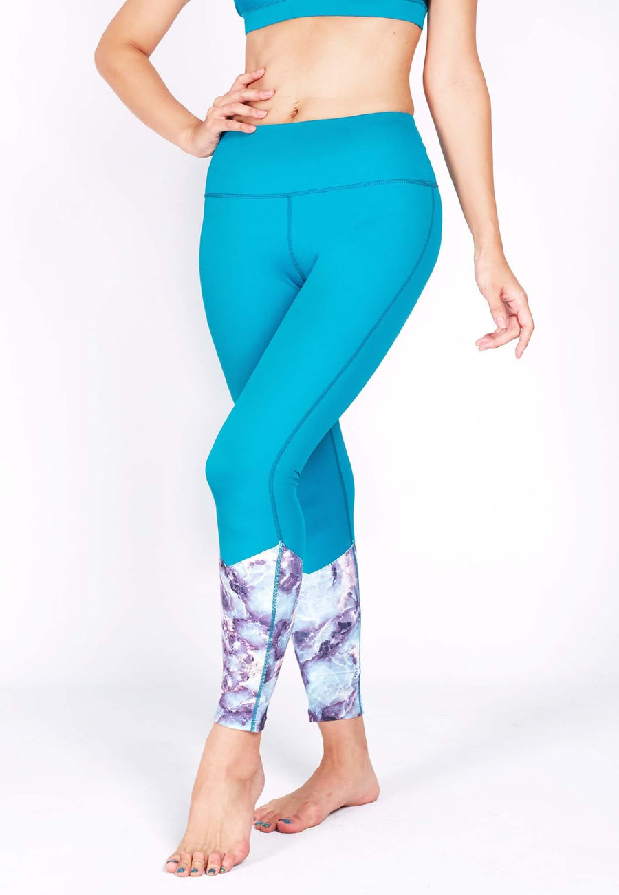 HYPE Blocking Leggings (with Keeperband®) in Aqua/ Venus Print(S - 3XL) - FUNFIT