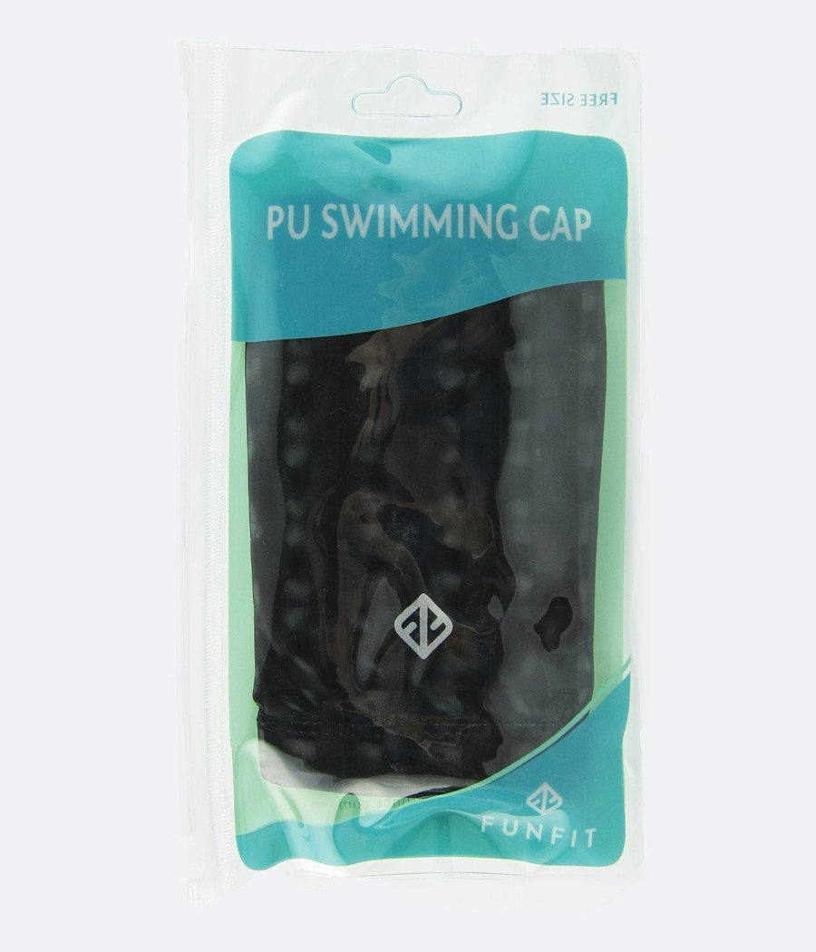 PU Coated Swimming Cap in 3D Lenticular Black - FUNFIT