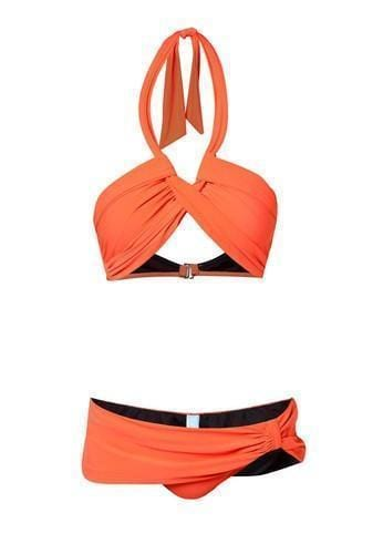 Twisted Halter Bikini Set in Tangerine - FUNFIT