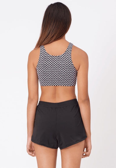 Two-Way Lattice Crop Top in Chevron Print - FUNFIT