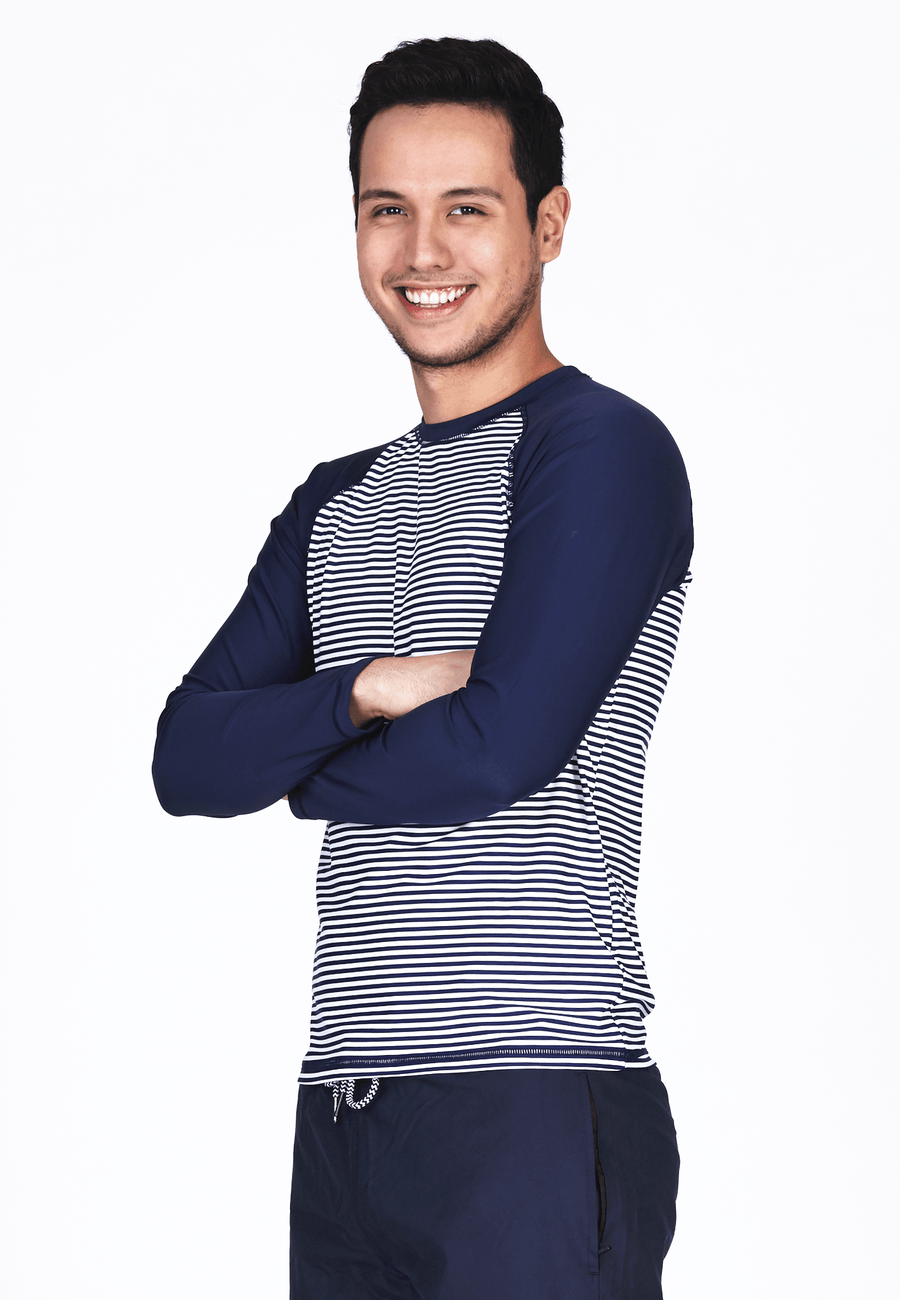 UPF50+ Crew Neck Rash Top in Nautical/ Navy