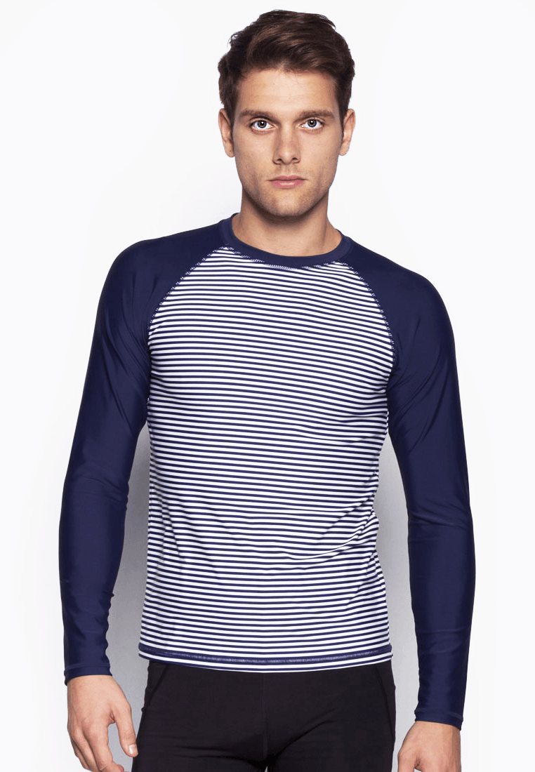 FUNFIT UPF50+ Crew Neck Rash Top in Nautical/ Navy
