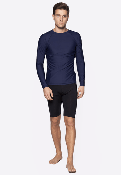 UPF50+ Crew Neck Rash Top in Navy - FUNFIT