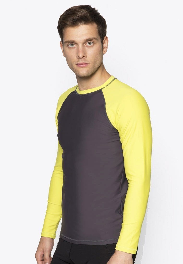 UPF50+ Crew Neck Rash Top in Neon Fluro/ Grey
