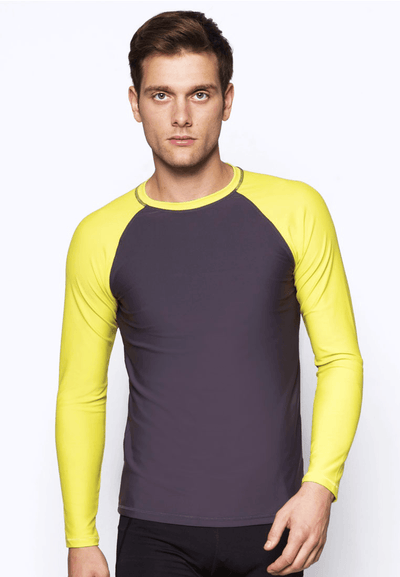 UPF50+ Crew Neck Rash Top in Neon Fluro/ Grey - FUNFIT