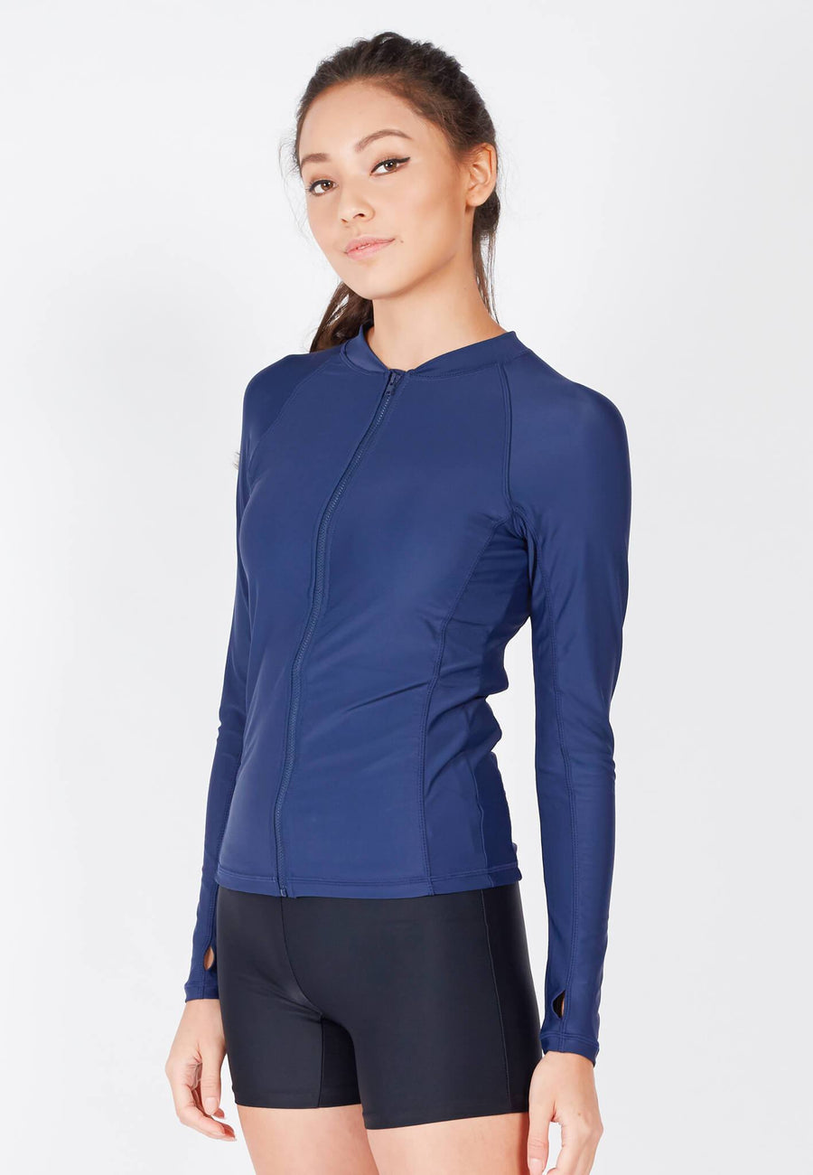 UPF50+ Zip Front Rashguard in Navy (XS - 3XL)