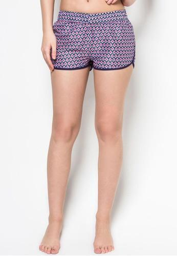 Women Beach Shorts in Mod Deco Print-FUNFIT