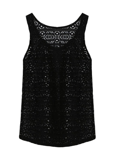 Openwork Tank Top in Black - FUNFIT