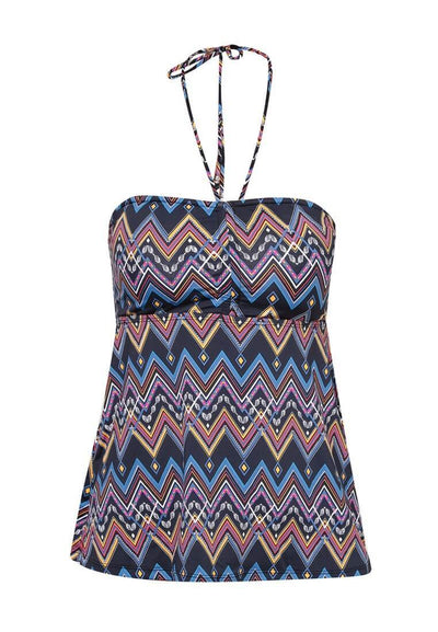 Bandeau Lattice Tankini Top in Aztecal Print