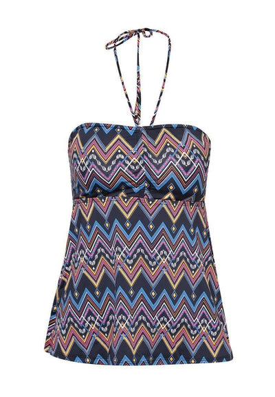 Bandeau Lattice Tankini Top in Aztecal Print - FUNFIT